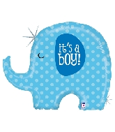 "32"" Holographic Shape It's A Boy Elephant"
