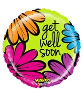 "21"" Mighty Bright Balloon Mighty Bold Flowers Get Well"