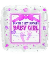 "18"" Baby Girl Birth Certificate Foil Balloon"