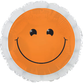 "17"" Neon Orange Smiley Face Balloon Packaged"