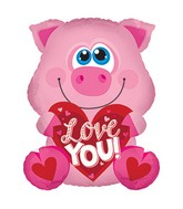 "25"" Love You Pink Piglet Balloon"