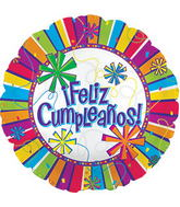 "17"" Feliz Cumpleanos Burst Of Colors  Balloon Packaged"