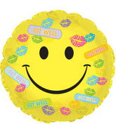 "17"" Get Well Bandaids & Kisses Balloon Packaged"