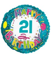 "18"" Happy 21 Birthday Streamers"