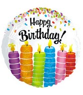 "17"" Happy Birthday Colorful Candles Packaged"