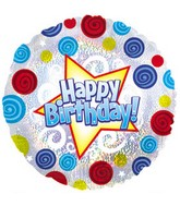"17"" Happy Birthday Swirls Dots Dazzeloon Packaged"