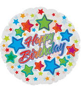 "24"" Happy Birthday Day Clear Stars Balloon"