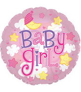 "24"" Baby Girl Clear Bubbles Balloon"