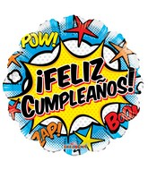 "18"" Feliz Cumple Comic Gellibean Balloon"