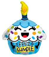 "18"" Feliz Cumple Cupcake Azul Shape Balloon"
