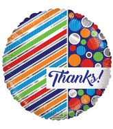 "18"" Thanks Lines & Dots Balloon"