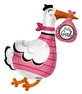 "36"" Baby Girl Stork Shape Balloon"