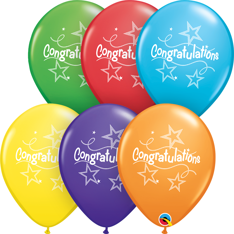 "11"" Congratulations Stars Latex Balloons 50 Count"