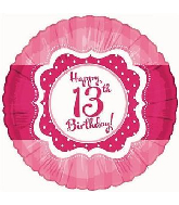"18"" Perfect Pink ""13"" Happy Birthday Foil Balloon"