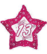 "18"" Pink & Silver ""13"" Happy Birthday Foil Balloon"