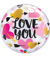 "22"" Round Love You Hearts & Arrows Bubble Balloon"