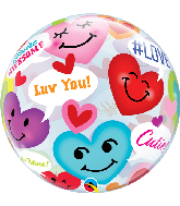 "22"" Round Conversation Smiley Hearts Bubble Balloon"