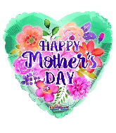 "18"" Happy Mother's Day Watercolored Flowers Foil Balloon"