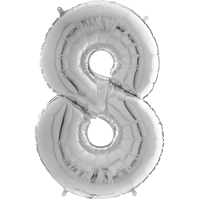 "26"" Midsize Foil Shape Balloon Number 8 Silver"