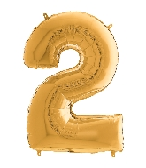 "26"" Midsize Foil Shape Balloon Number 2 Gold"
