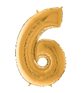 "26"" Midsize Foil Shape Balloon Number 6 Gold"