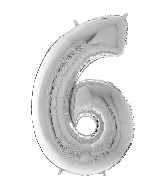 "26"" Midsize Foil Shape Balloon Number 6 Silver"