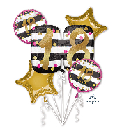 Bouquet Pink & Gold Milestone 18 Foil Balloon