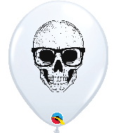 "11"" Skull With Glasses White Balloon 50 Count"