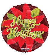 "18"" Happy Holidays Poinsettia Holographic Foil Balloon"
