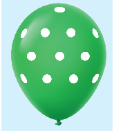 "11"" Polka Dots Latex Balloons 25 Count Green"