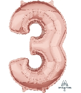 "26"" Number ""3"" Rose Gold Mid-Size Shape Foil Balloon"