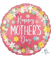 "28"" Happy Mother's Day Floral Wreath Jumbo Foil Balloon"