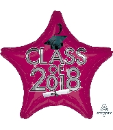 "18"" Class of 2018 - Burgundy Star Shape Foil Balloon"