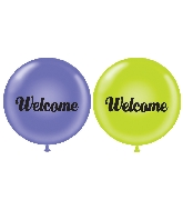 "36"" Latex Balloon 2CT Welcome (Lavender, Lime Green)"