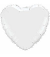 "36"" Heart Foil Mylar Balloon White"