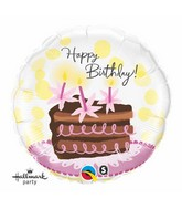 "18"" Birthday Chocolate Cake Slice Mylar Balloon"