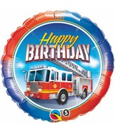 "18"" Birthday Fire Truck Packaged Mylar Balloon"