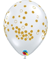 "11"" Diamond Clear Gold Confetti Dots"
