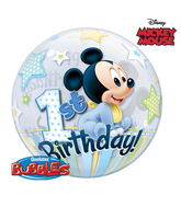 "22"" Mickey Mouse 1st Birthday Bubble Balloons"