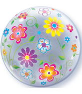 "22"" Spring Floral Patterns Plastic Bubble Balloons"