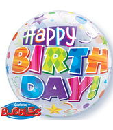 "22"" Birthday Party Patterns Plastic Bubble Balloons"