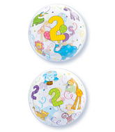"22"" Age 2 Jungle Animals Plastic Bubble Balloons"