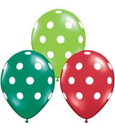"11"" Big Polka Dots Emerald, Ruby Red, Lime Green  (50 ct.)"