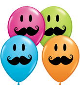 "5"" Smile Face Mustache Special Assortment 100 Count"