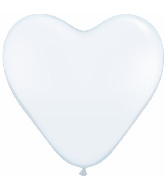 "6"" Heart Latex Balloons (100 Count) White"