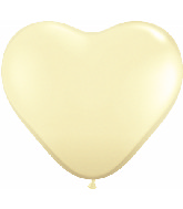 "6"" Heart Latex Balloons (100 Count) Ivory Silk"