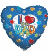 "36"" I (heart) You Dad Blue Boarder Heart"