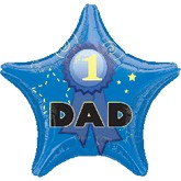 "18"" #1 Dad Star Mylar Balloon"