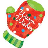 Large Shape Warm Wishes Holiday Mitten Balloons
