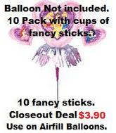 Fancy Stick and Cups for Airfill Balloons (10 Pack)